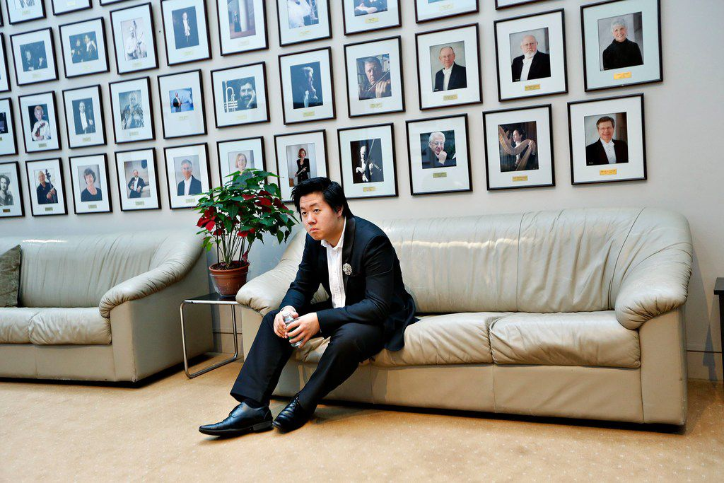 Shuan Hern Lee, of Australia, waits to perform in the final round of the Cliburn International Junior Piano Competition at the Morton H. Meyerson Symphony Center in Dallas.