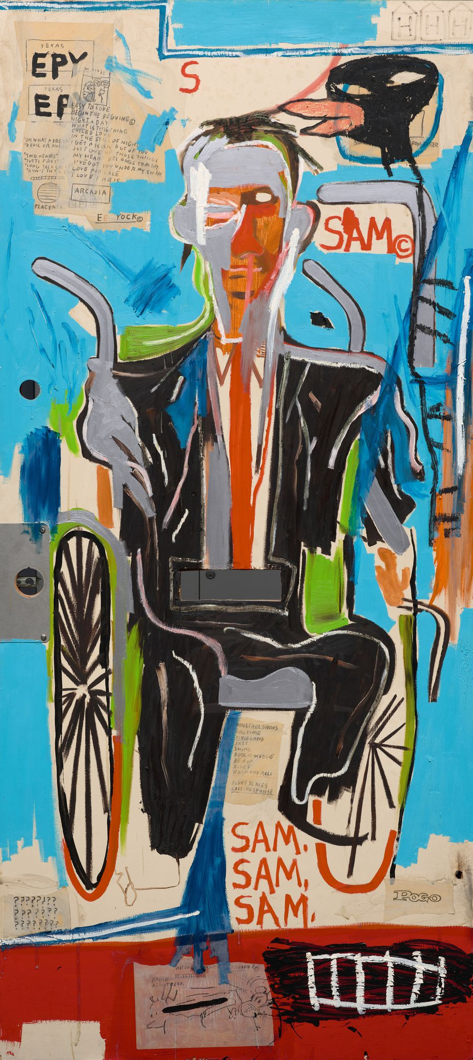 """""""Sam F"""" is a 1985 portrait of a local art collector in his wheelchair. It includes the tag """"SAMO,"""" a Basquiat standard born of his graffiti work with collaborator Al Diaz. ( © Estate of Jean-Michel Basquiat. Licensed by Artestar, New York)"""