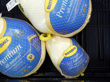 Li'l Butterball turkeys (lower right) are a smaller frozen bird than the normal Premium ones at Walmart Supercenter on Lyndon B Johnson Freeway in Dallas.