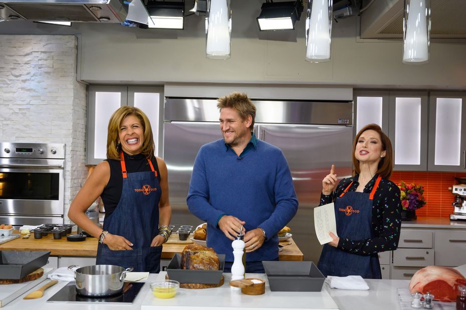 "Curtis Stone, center, appears on NBC's 'Today"" show with Hoda Kotb, left, and Ellie Kemper in late 2018."