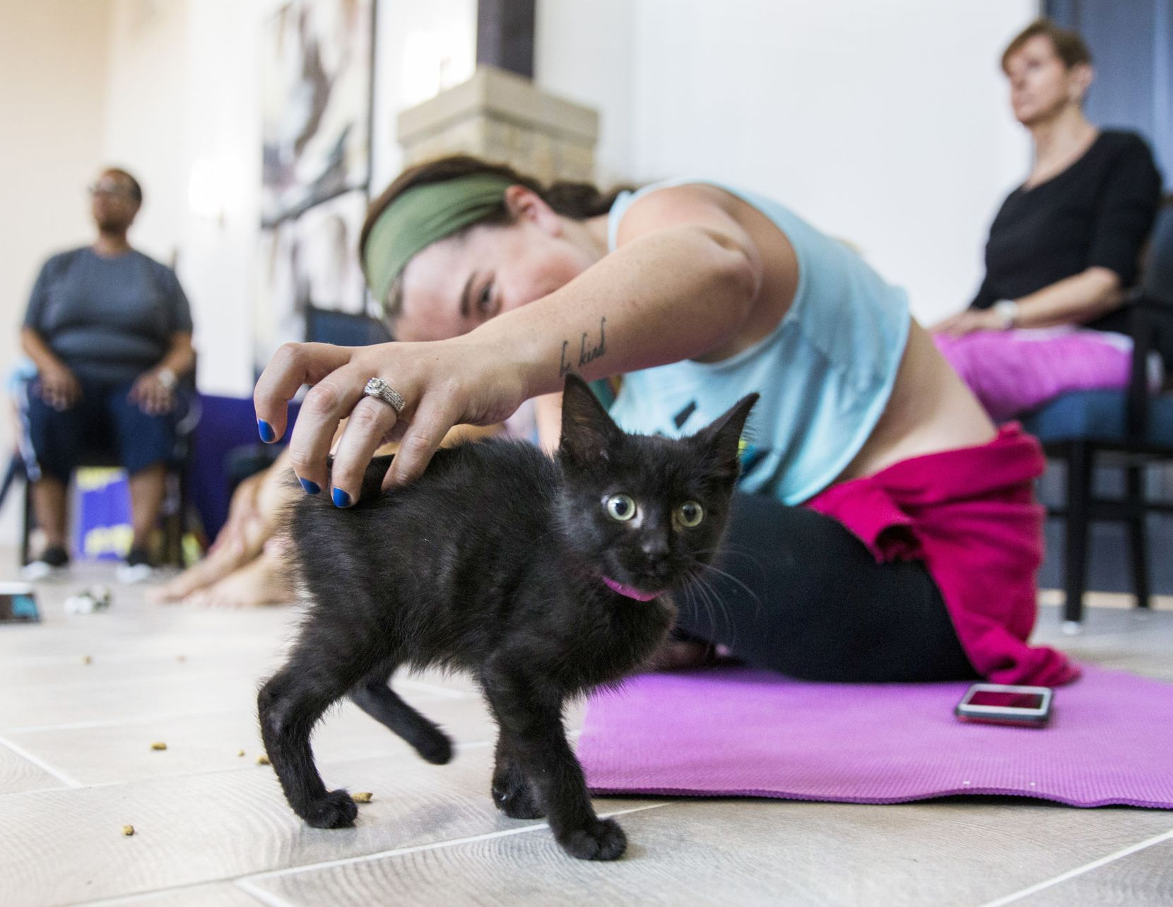 Anna Hurst petted a kitten during a yoga class.