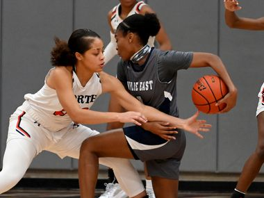 McKinney North's Jayden Smallwood knocks the ball away from Wylie East's Taylor Dailey during a girls basketball game between Wylie East and McKinney North, Tuesday, Feb. 2, 2020, in McKinney, Texas. (Matt Strasen/Special Contributor)