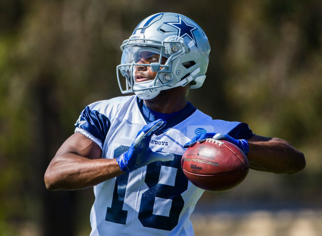 Dallas Cowboys wide receiver Randall Cobb (18) throws the ball during an afternoon practice at training camp in Oxnard, California on Sunday, July 28, 2019. (Ashley Landis/The Dallas Morning News)