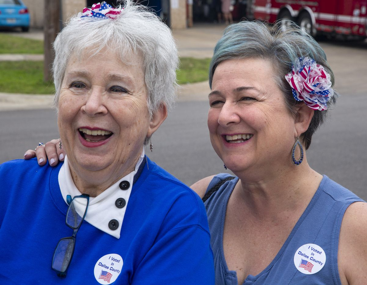 "Winifred Anderson (left) and her daughter, Kat Warwick, pose for a portrait after casting their ballots in the primary election at Dallas Fire Station No. 17 in the Lakewood Heights neighborhood of Dallas on Tuesday, March 3, 2020. ""It's a tradition for us to do it together,"" Anderson said."