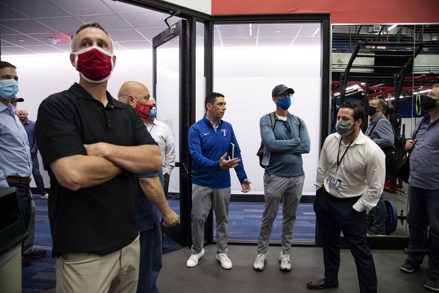 Texas Rangers President of Baseball Operations Jon Daniels gives members of the media a tour of the clubhouse during the Texas RangersÕ end of the year press conference at Globe Life Field on Wednesday, October 6, 2021 in Arlington, Texas. (Emil Lippe/Special Contributor)