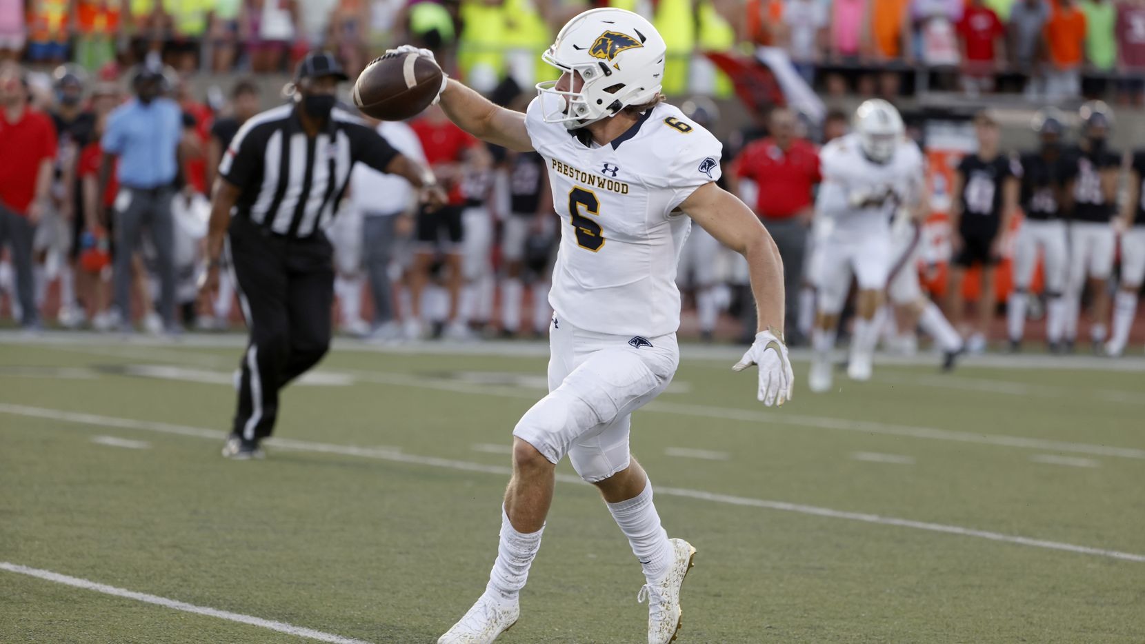 Prestonwood Christian Academy defender Tyler Chambers (6) celebrates his interception against Coppell during a high school football game in Coppell, Texas on Friday, Sept. 03, 2021.