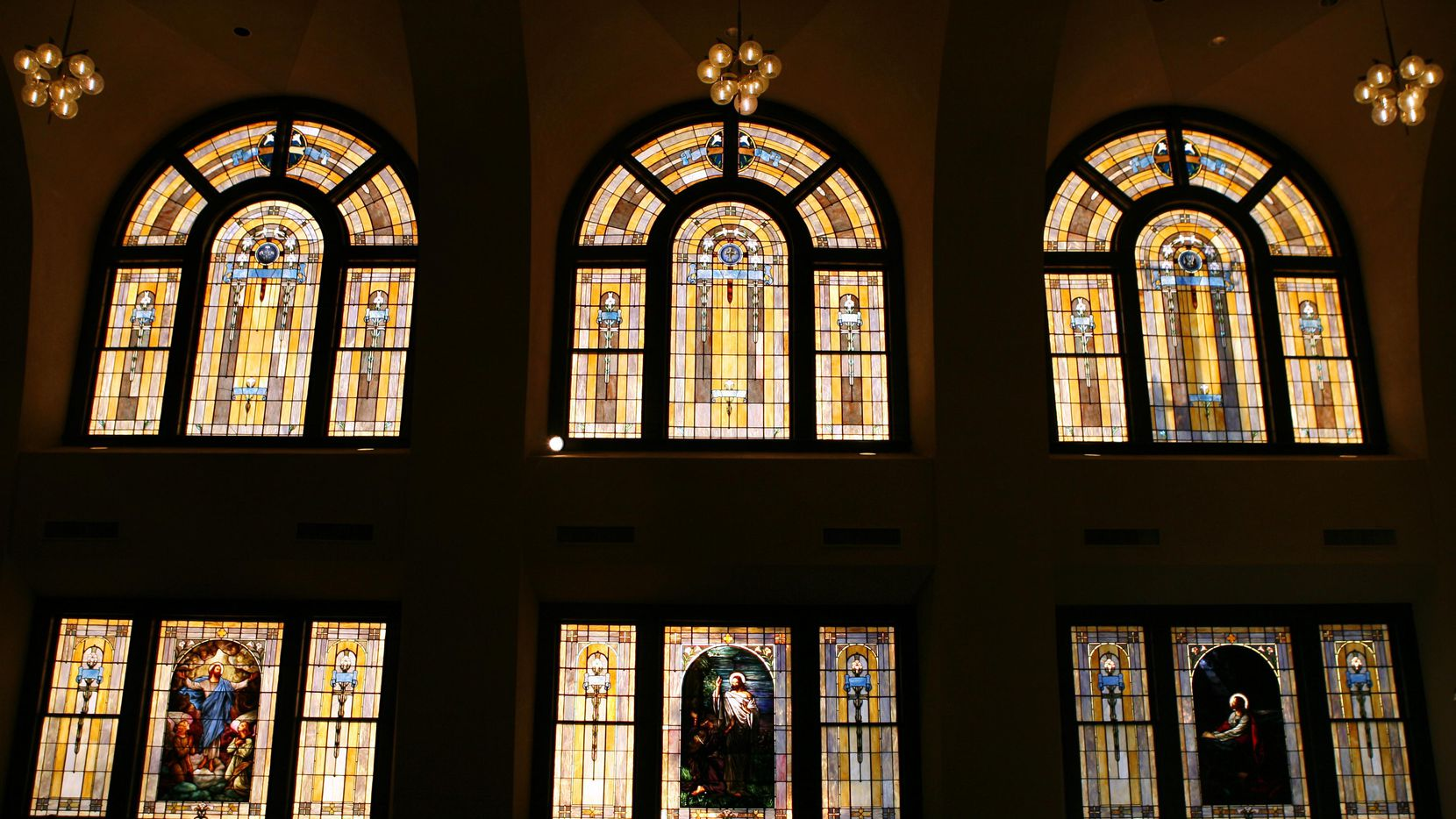 Stained glass windows in the sanctuary of the Tyler Street United Methodist Church in Dallas.