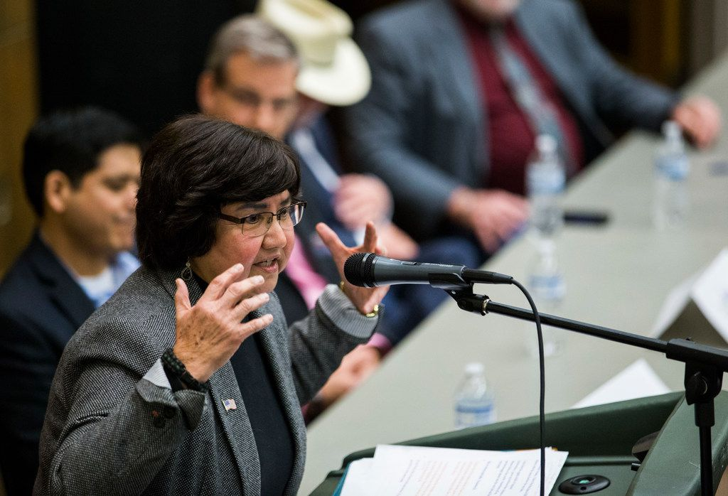 Gubernatorial candidate Lupe Valdez speaks during a democratic gubernatorial candidate forum hosted by Tom Green County Democratic Club on Monday, January 8, 2018 at the San Angelo Museum of Fine Arts in San Angelo, Texas. Each of 10 candidates was allowed five minutes to speak. (Ashley Landis/The Dallas Morning News)