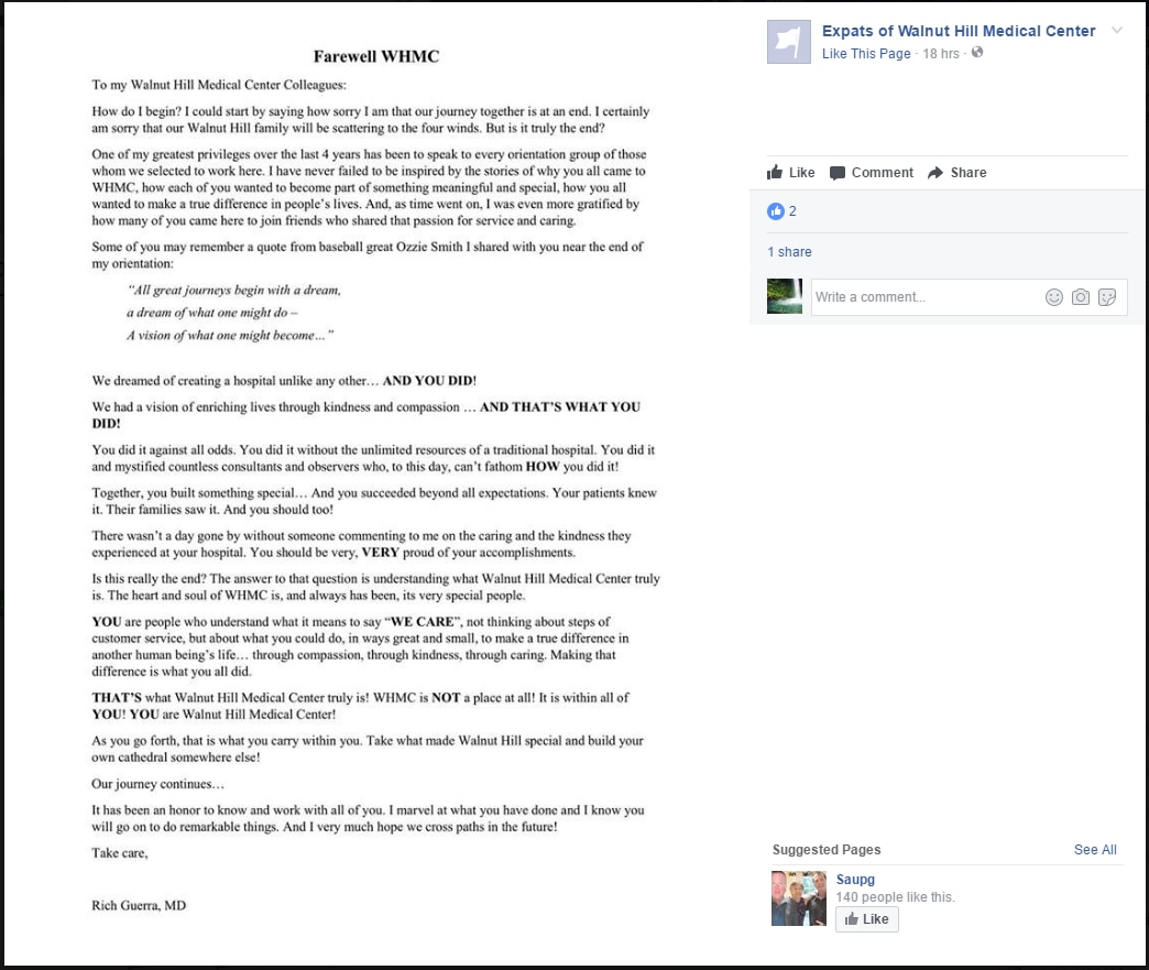 """A screenshot of the letter that was posted on a Facebook page called """"Expats of Walnut Hill Medical Center."""" It was later taken down."""