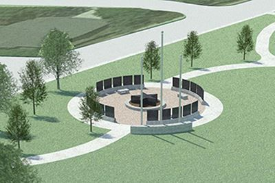 A rendering of the Veterans Memorial planned by Heroes of Mesquite. Funding will determine the final design for the memorial to be built at City Lake Park. (Courtesy)