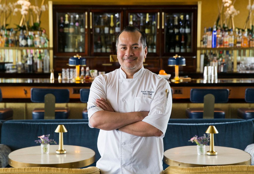 Pastry chef Ricchi Sanchez poses for a portrait at Bullion restaurant in Dallas.