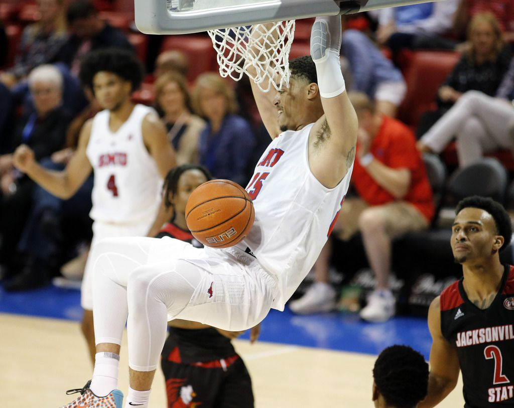 Southern Methodist Mustangs forward Isiaha Mike (15) throws down a dunk during the second half against the Jacksonville State Gamecocks at Moody Coliseum  in University Park, Texas, Tuesday, November 5, 2019. SMU won, 74-65. (Tom Fox/The Dallas Morning News)