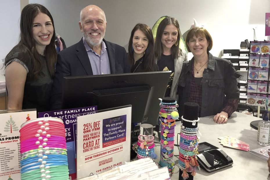 Jay and Janet Finegold and their three daughters were  photographed on Oct. 21, 2018, at the grand opening of the KidBiz The Biz boutique in Inwood Village at 5370 W. Lovers Lane. Left to right are Randi, Jay, Erin, Toby and Janet.