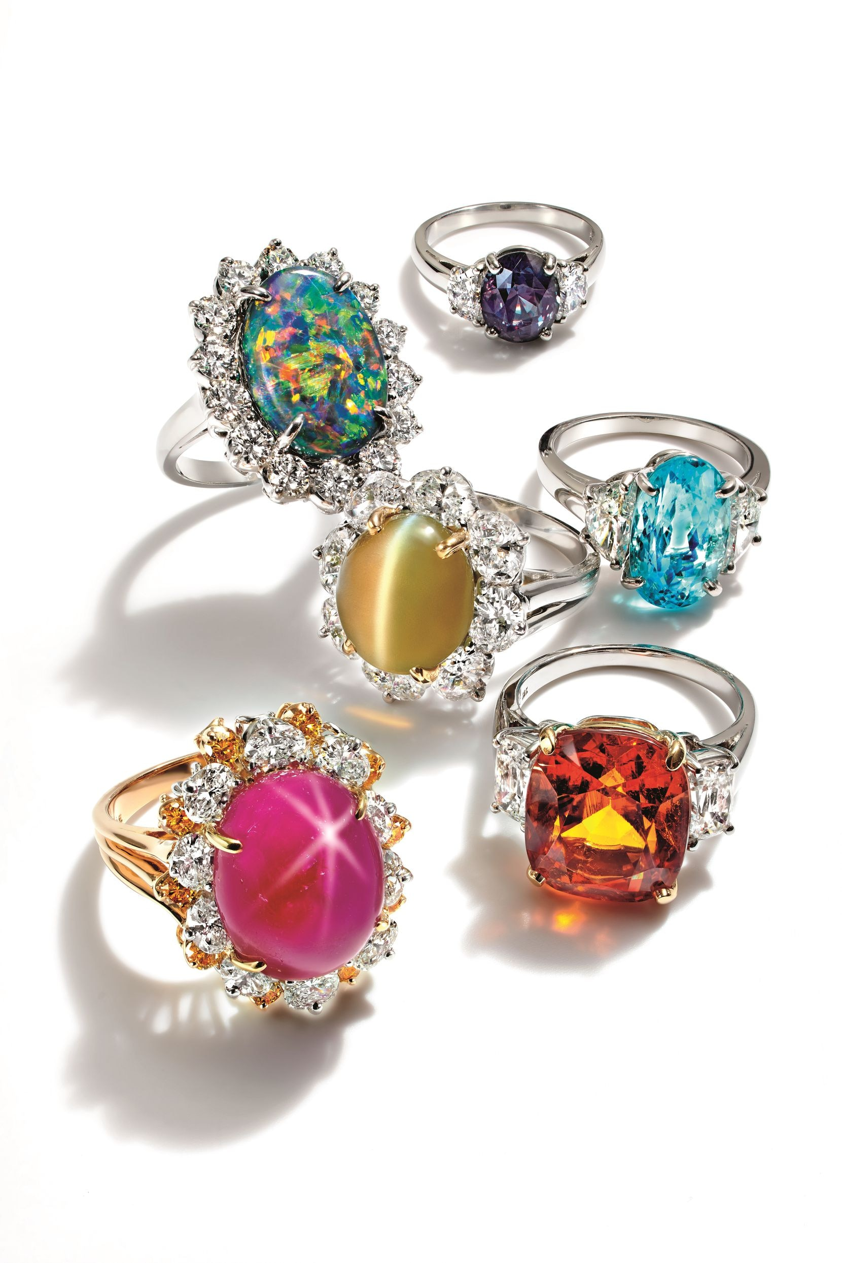 Six one-of-a-kind Oscar Heyman rings cost $100,000 to $190,000 each or $860,000 for all six. The collection is a fantasy gift in the Neiman Marcus 2020 Christmas Book.