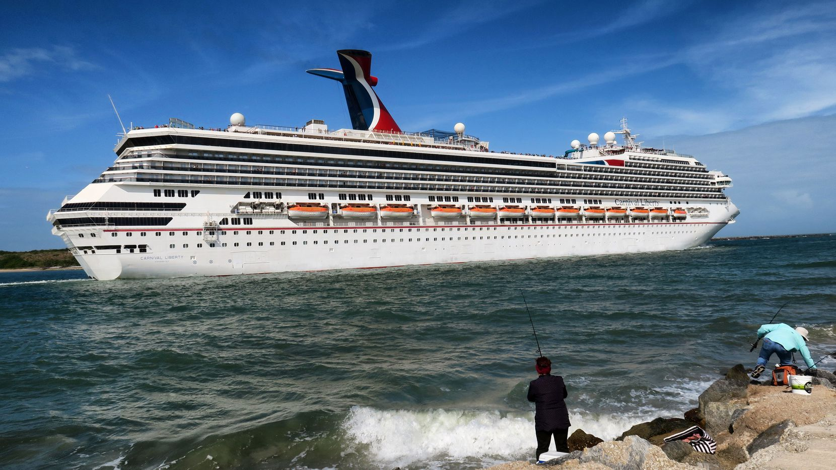 The Carnival Liberty leaves Port Canaveral, Fla., Monday, March 9, 2020.