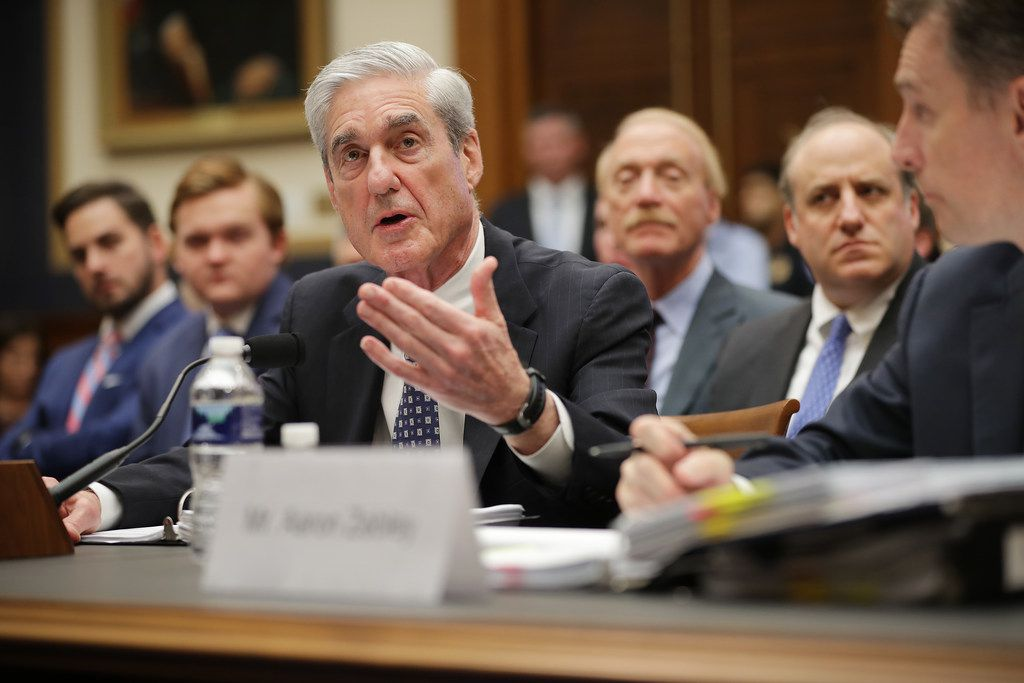Former special counsel Robert Mueller testifies before the House Intelligence Committee about his report on Russian interference in the 2016 presidential election in the Rayburn House Office Building on July 24, 2019 in Washington, D.C.