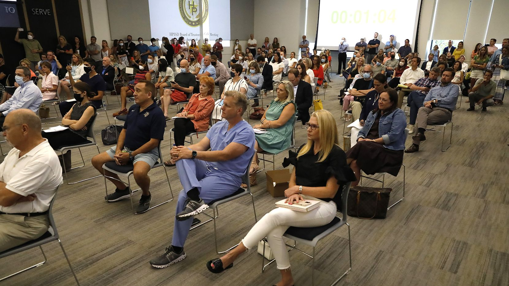 An overflow crowd showed up as the Highland Park ISD held a meeting on masking children on Monday, August 16, 2021. (Stewart F. House/Special Contributor)