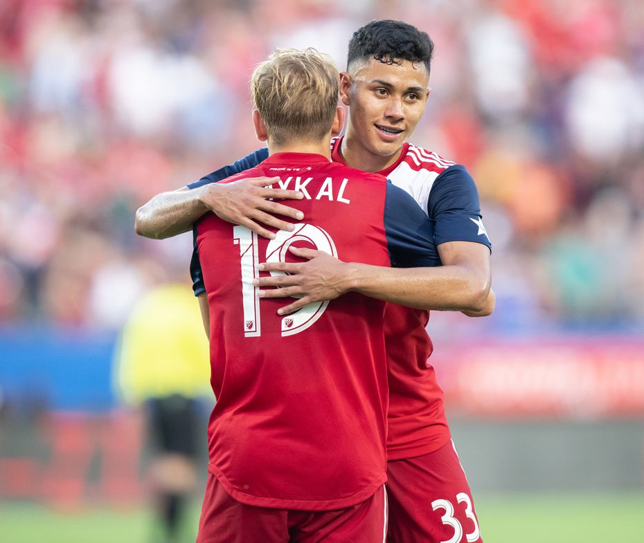 DALLAS, TX - JUNE 22: Paxton Pomykal and Edwin Cerrillo celebrate during the MLS soccer game between FC Dallas and Toronto FC on June 22, 2019 at Toyota Stadium in Frisco, Texas.  (Photo by Matthew Visinsky)