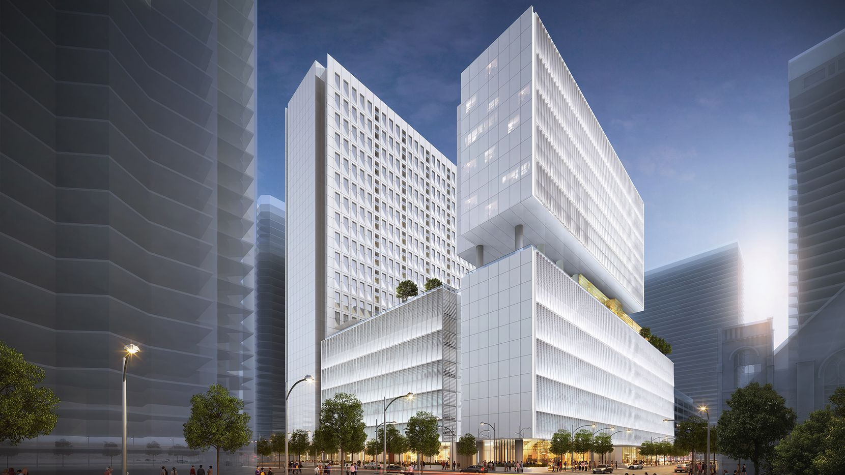 A new high-rise on Ross Avenue will add retail, restaurants, a parking garage with over 2,000 spaces and a 200-room hotel across the street from the Trammell Crow Center.