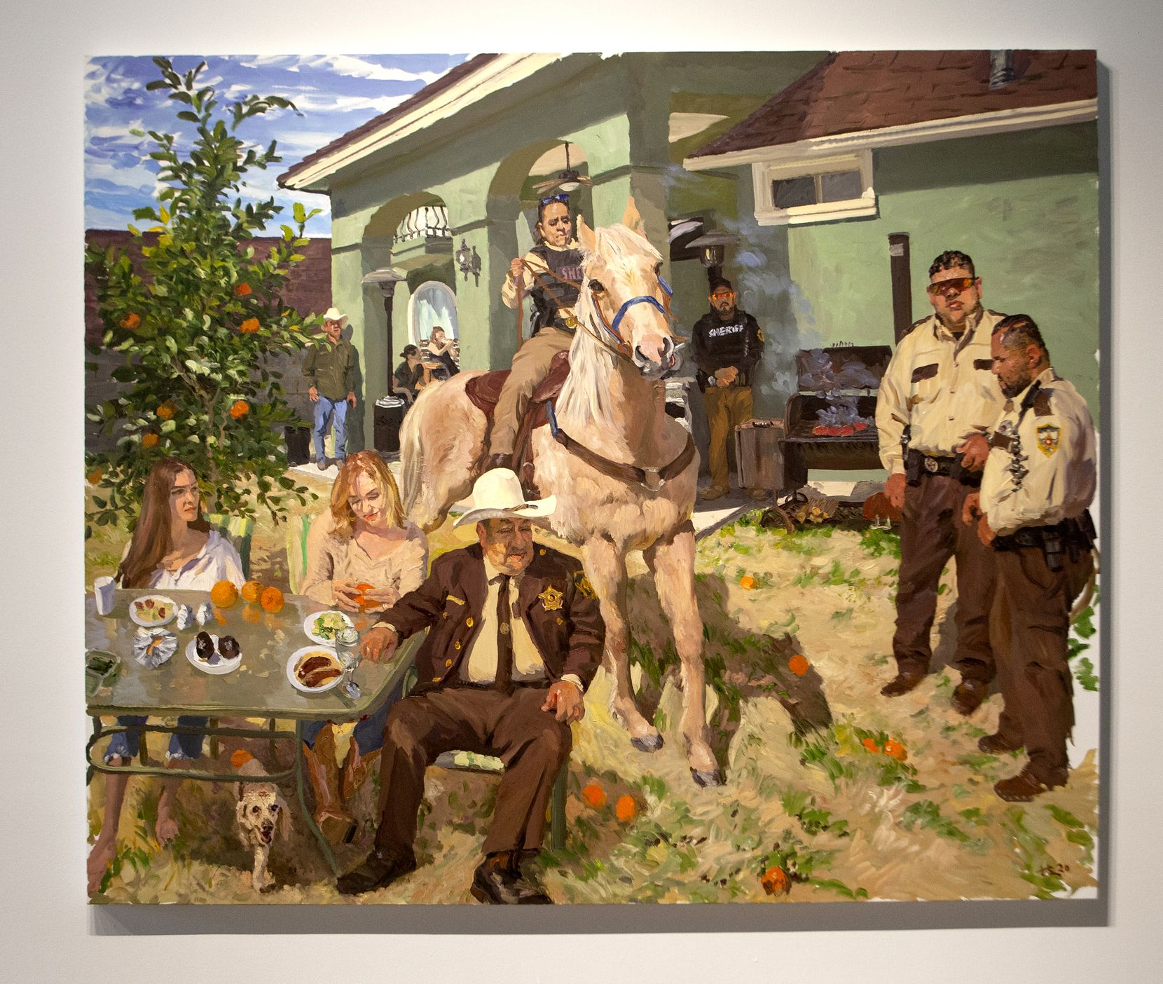 """Liu Xiaodong, """"Tom, his Family, and his Friends, 2020; oil on canvas at the exhibition """"Liu Xiaodong: Borders"""" at Dallas Contemporary."""