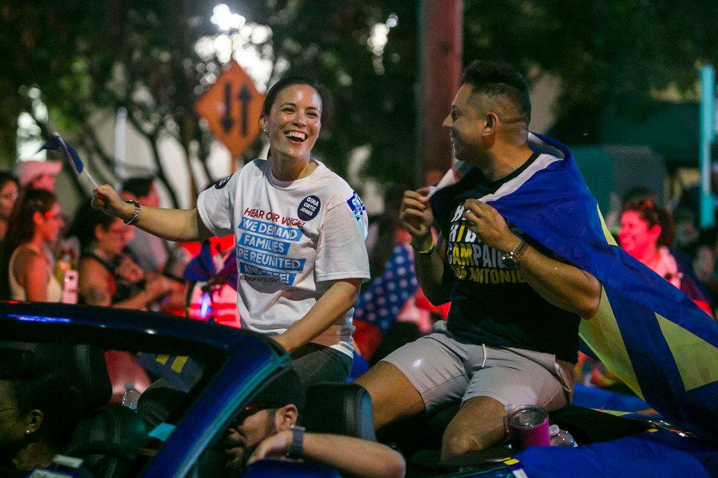 Congressional candidate Gina Ortiz Jones rides in the annual Pride San Antonio festival parade June 30, 2018.
