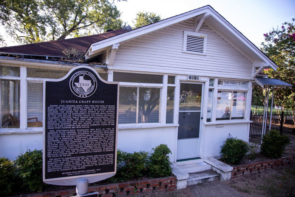The exterior view of civil rights activist and former Dallas City council member Juanita Craft's house in South Dallas