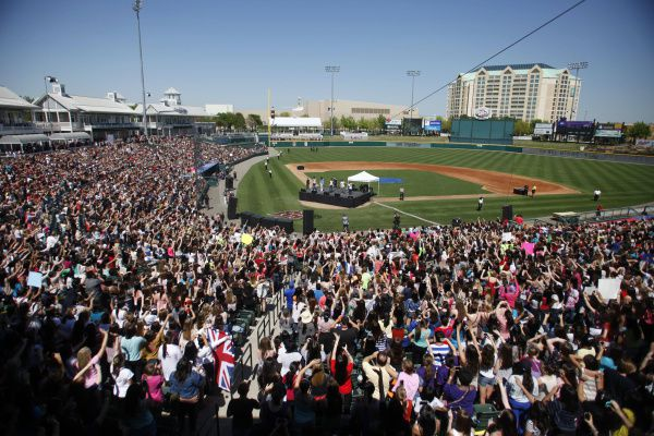 Thousands of fans watch One Direction perform at Dr. Pepper Ballpark on Saturday, March 24, 2012. The performance was a part of a competition with different cities to win a concert from One Direction.