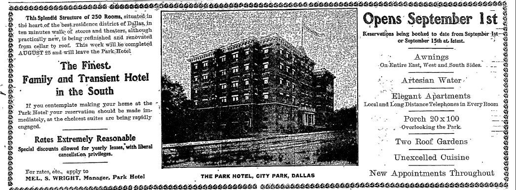 An advertisement from 1907 publicizing recent renovations to the Park Hotel.
