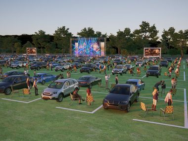 Renderings show what the social distancing-friendly set-up will looked for McKinney Performing Arts Center's summer concert series. Saturday's Octoberfest event 'Parktoberfest' will use a similar setup.