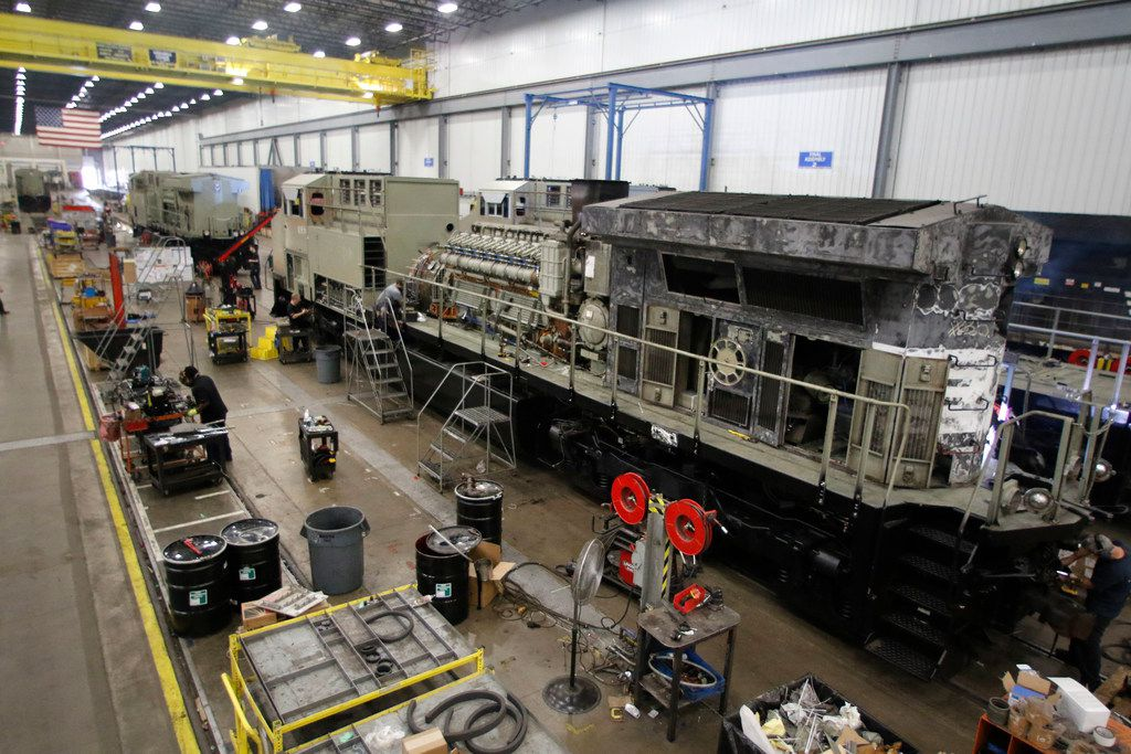 Locomotives on the assembly are being refurbished at the GE Manufacturing locomotive facility in Fort Worth, Tuesday, March 20, 2018. The company plans on refurbishing between 320 to 350 locomotives in 2018.  (David Woo/ The Dallas Morning News)
