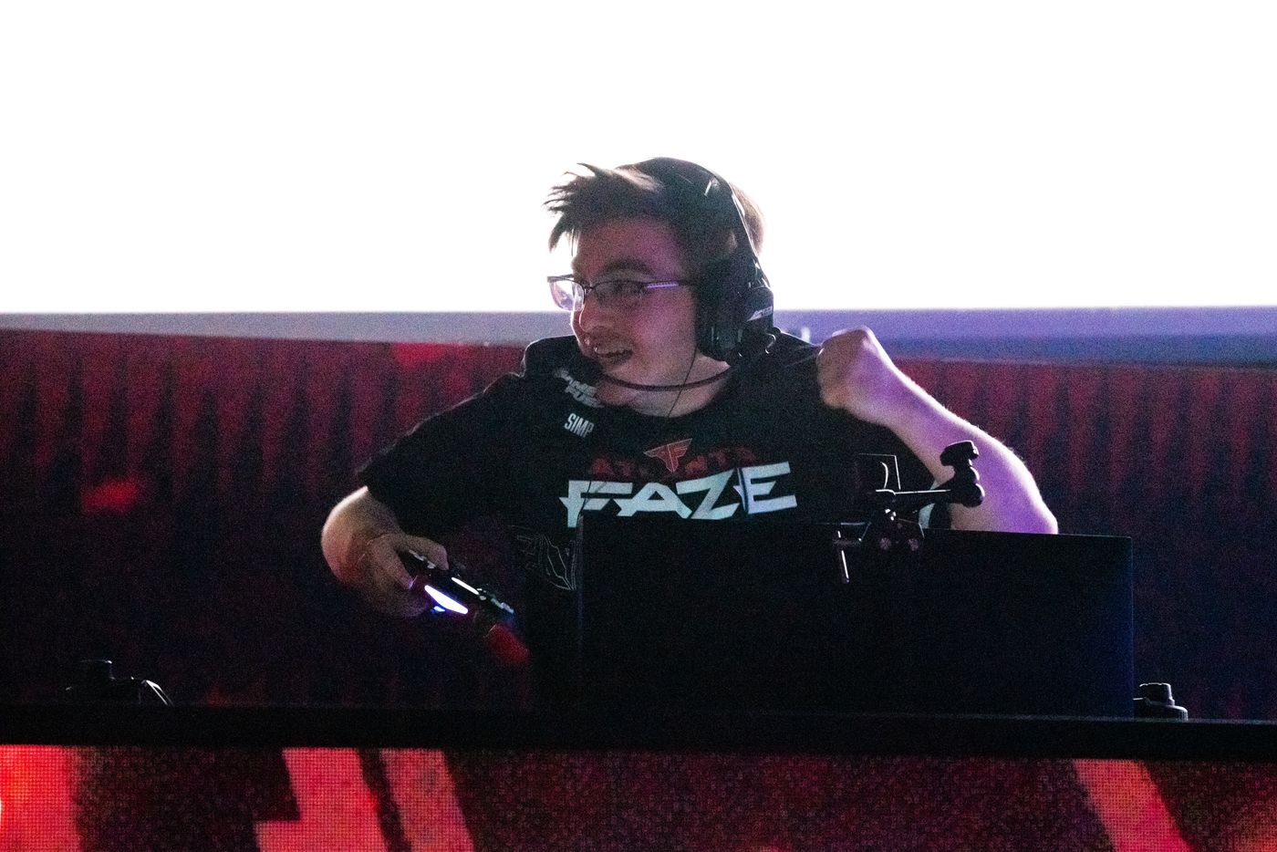 """Chris """"Simp"""" Lehr of the Atlanta FaZe celebrates as FaZe beats the Toronto Ultra  during the Call of Duty league playoffs championship round at the Galen Center on Sunday, August 22, 2021 in Los Angeles, California. The Atlanta FaZe beat the Toronto Ultra 5 - 3. (Justin L. Stewart/Special Contributor)"""