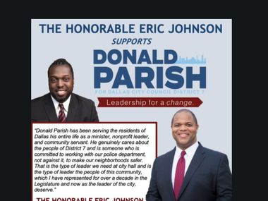 A screenshot of a flyer released by Dallas City Council District 7 candidate Donald Parish Jr. on April 19, 2021 shows an endorsement from Mayor Eric Johnson.