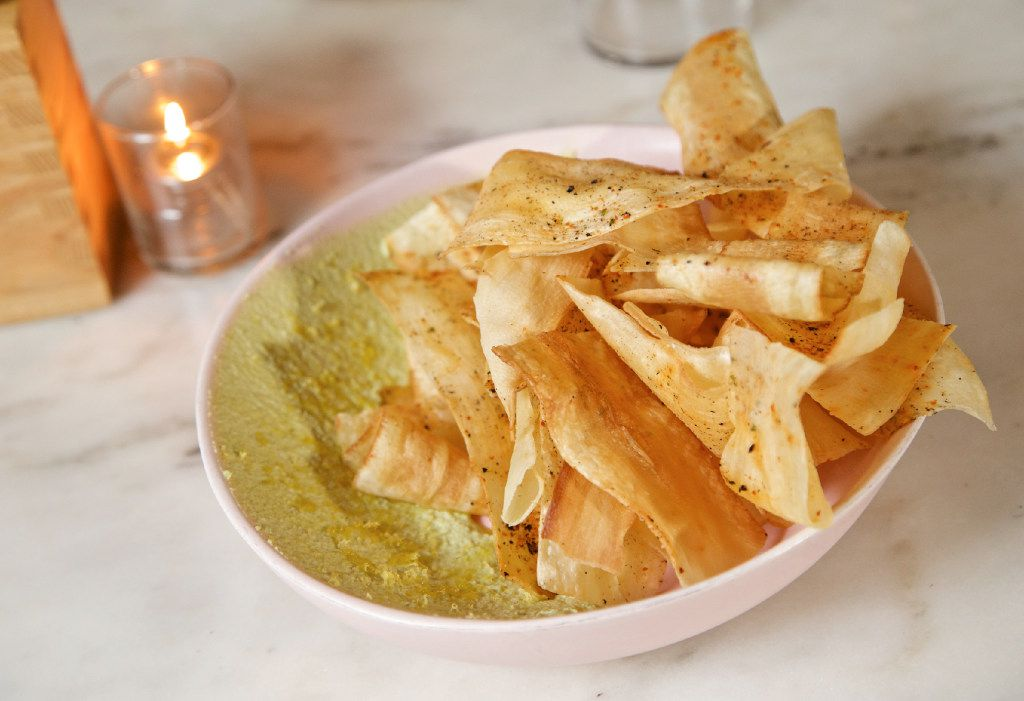 Yucca chips with edamame hummus at Top Knot