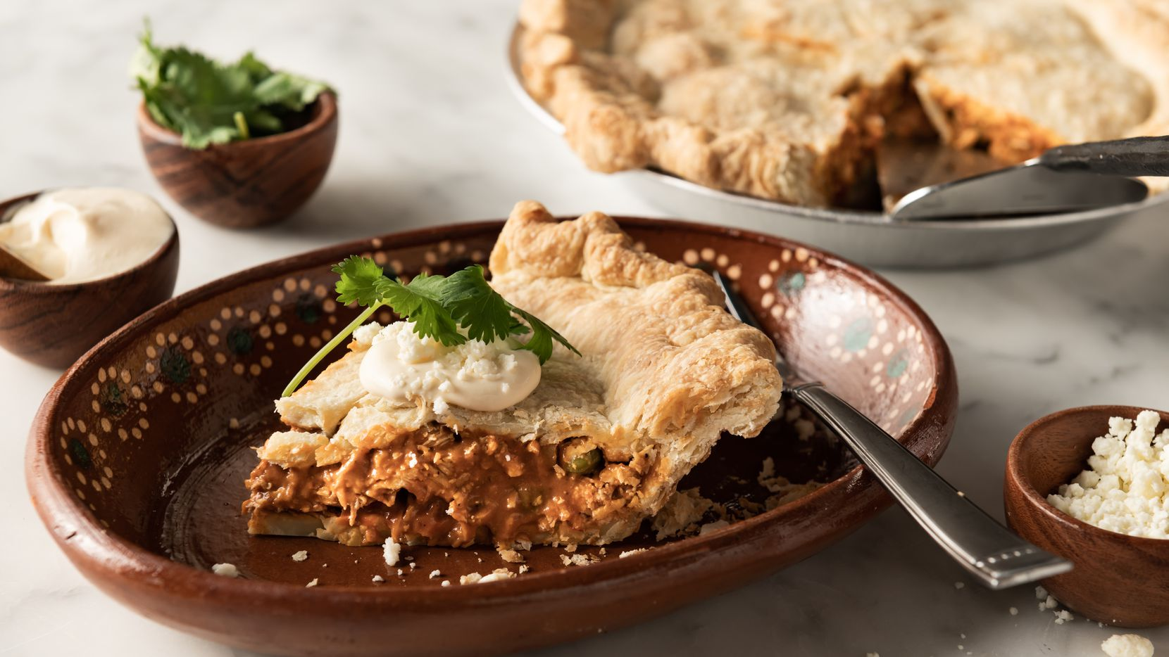 Chef Anastacia Quinones-Pittman's Chicken Mole Pot Pie. Over a dozen of Dallas' most distinguished chefs are donating their top-tier pies for Piehole Project Live! The Variety Show.