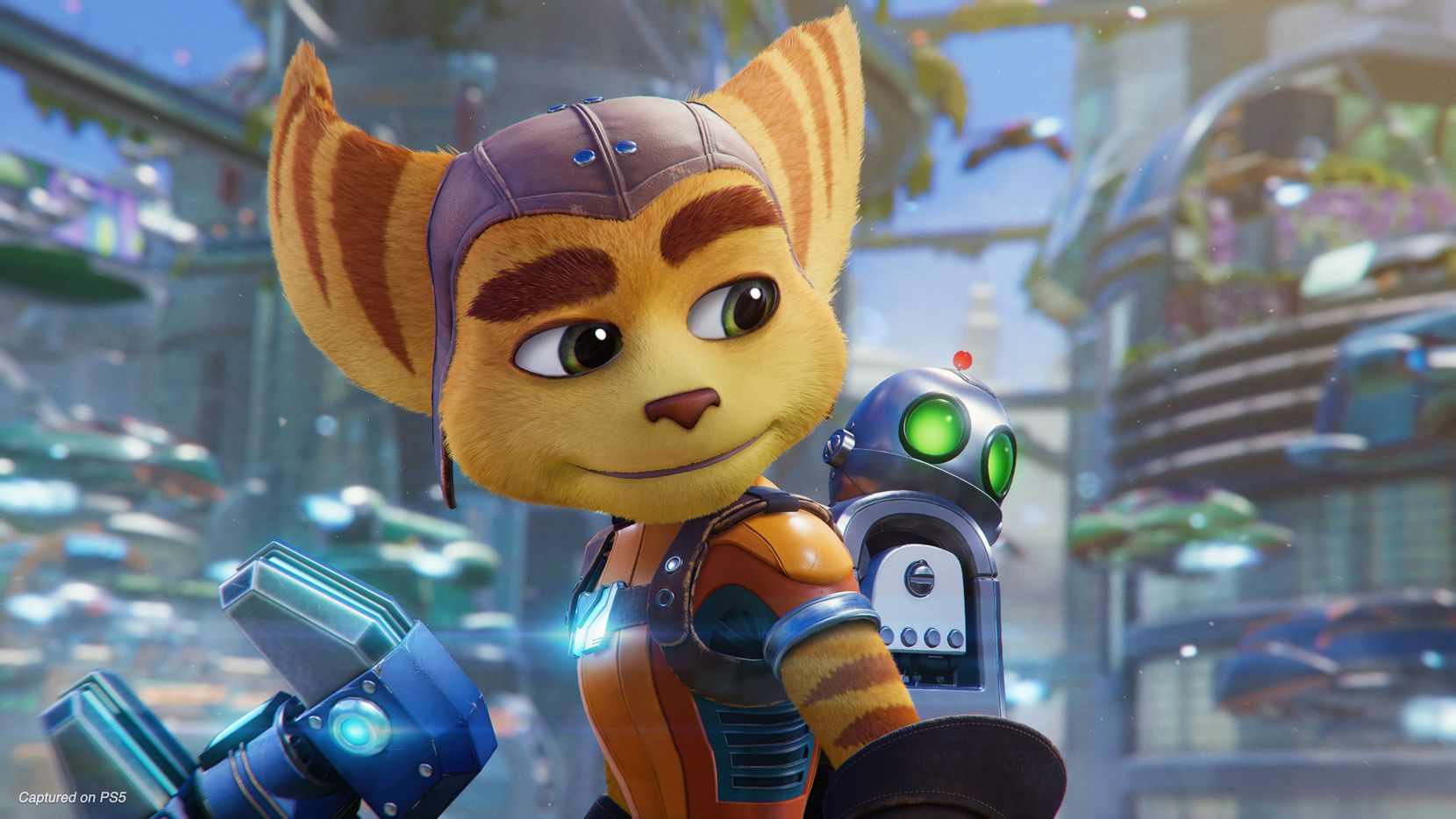 """An image of the characters Ratchet and Clank from """"Ratchet and Clank: Rift Apart"""" for the PlayStation 5."""