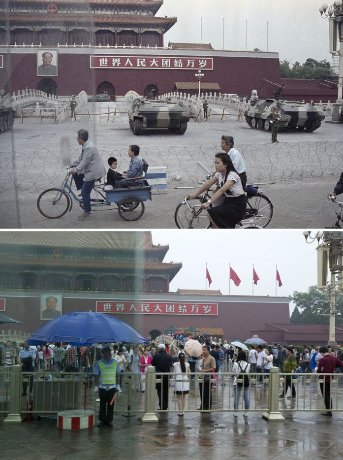 In this combination of photos, a June 13, 1989 file photo, top, shows people cycling past armored vehicles parked in front of Tiananmen Gate near the square where students rallied for democratic reforms, and in the same spot almost 25 years later, a May 24, 2014 photo, bottom, shows a security guard watching an empty bicycle lane, still cordoned off from an area in front of Tiananmen Gate.
