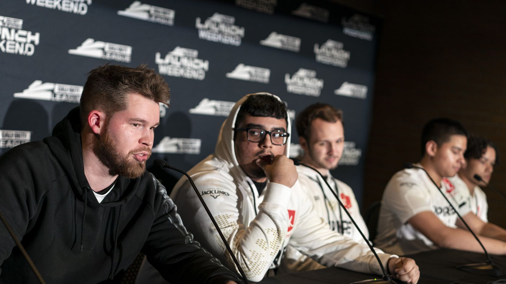 "Ian ""Crimsix"" Porter talks to the media after the Dallas Empire lost to Atlanta Faze in the Call of Duty League Launch Weekend at the Armory in Minneapolis, Minn., January 25, 2020. (Courtney Perry/Special Contributor)"