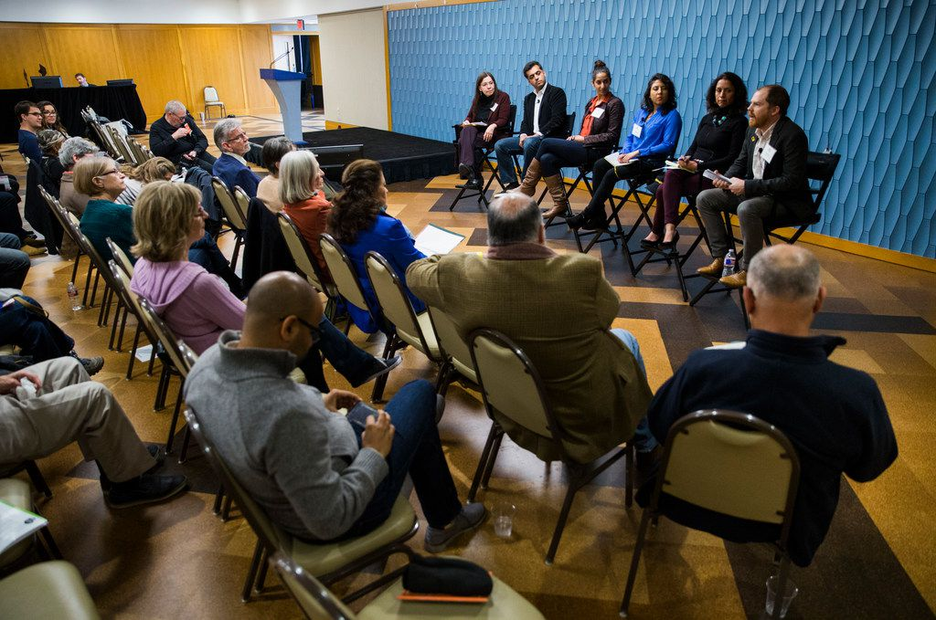 """A panel discusses """"The Inclusive City,"""" featuring Wajahat Ali, contributing op-ed writer for The New York Times (second from left) during the 2018 Festival of Ideas on April 7, 2018 at  J. Erik Jonsson Central Library in Dallas."""