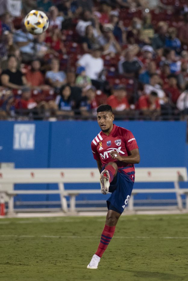 FC Dallas midfielder Bryan Acosta (8) kicks the ball towards the goal during FC DallasÕ home game against the San Jose Earthquakes at Toyota Stadium in Frisco, Texas on Saturday, September 11, 2021. (Emil Lippe/Special Contributor)