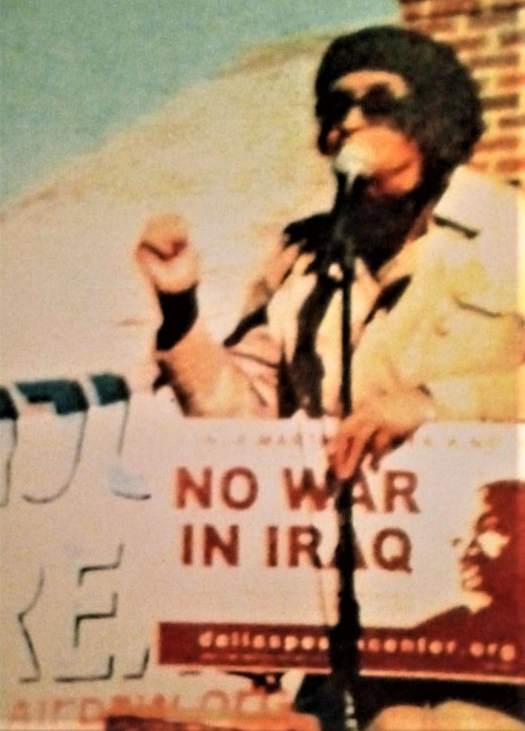 Eva McMillian is shown leading an anti-war protest in the 1970s.