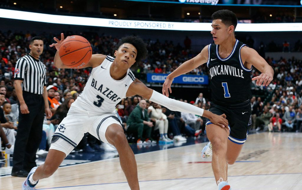 Sierra Canyon's Brandon Boston Jr. (3) tries to get separation from Duncanville's Juan Reyna (1) during their high school boys basketball game during the Thanksgiving Hoopfest in Dallas, Tx, Saturday, Nov. 30, 2019. (Michael Ainsworth)