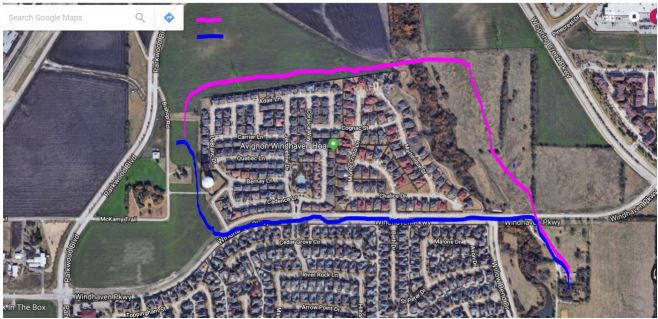 A map provided by the city of Plano shows the two possible routes for moving the Collinwood house from its existing spot south of Windhaven Parkway to a temporary spot just east of Parkwood Boulevard. The route marked in pink, which is mostly on private land, is the preferred route.