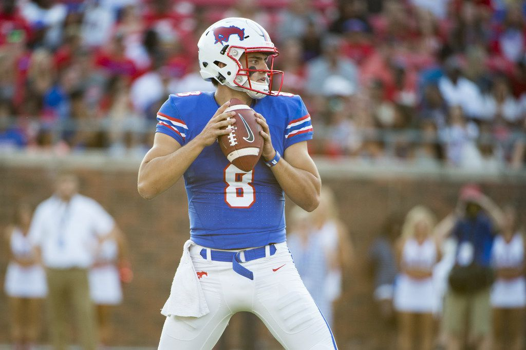 DALLAS, TX - SEPTEMBER 9:  Ben Hicks #8 of the SMU Mustangs drops back to pass against the North Texas Mean Green during the first half at Gerald J. Ford Stadium on September 9, 2017 in Dallas, Texas.  (Photo by Cooper Neill/Getty Images)