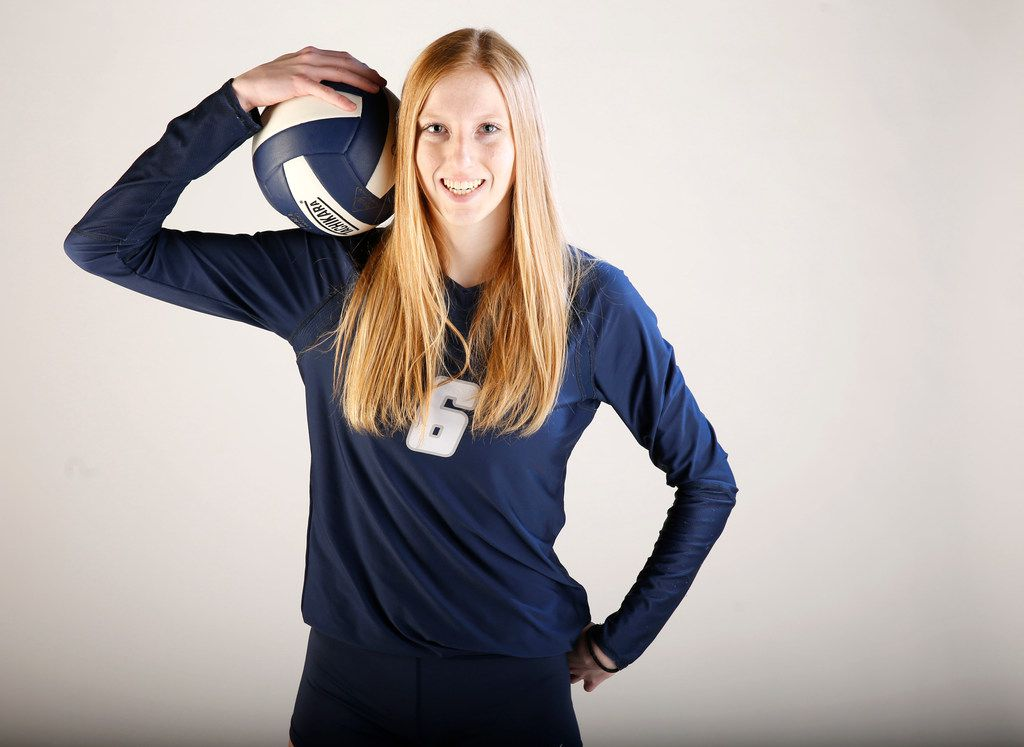 Flower Mound's Kaylee Cox poses for a photo after being named SportsDay's All-Area Volleyball Player of the Year last season. (Nathan Hunsinger/The Dallas Morning News)