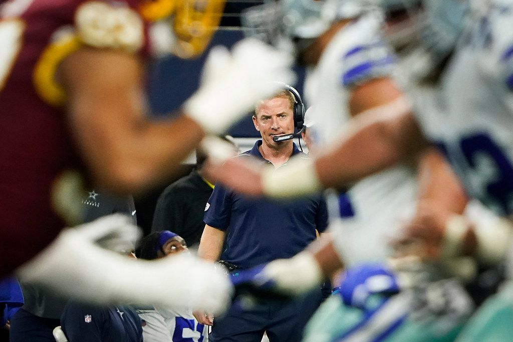 Dallas Cowboys head coach Jason Garrett watches from the sidelines during the second half of an NFL football game against the Washington Redskins at AT&T Stadium on Sunday, Dec. 29, 2019, in Arlington. (Smiley N. Pool/The Dallas Morning News)