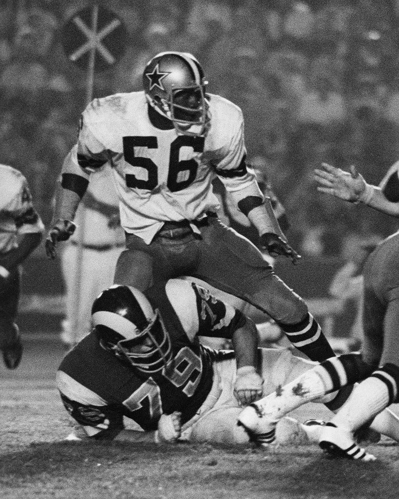 Dallas Cowboys linebacker Rodrigo Barnes (56) drops back in pass coverage during a preseason game against the Los Angeles Rams in 1973.