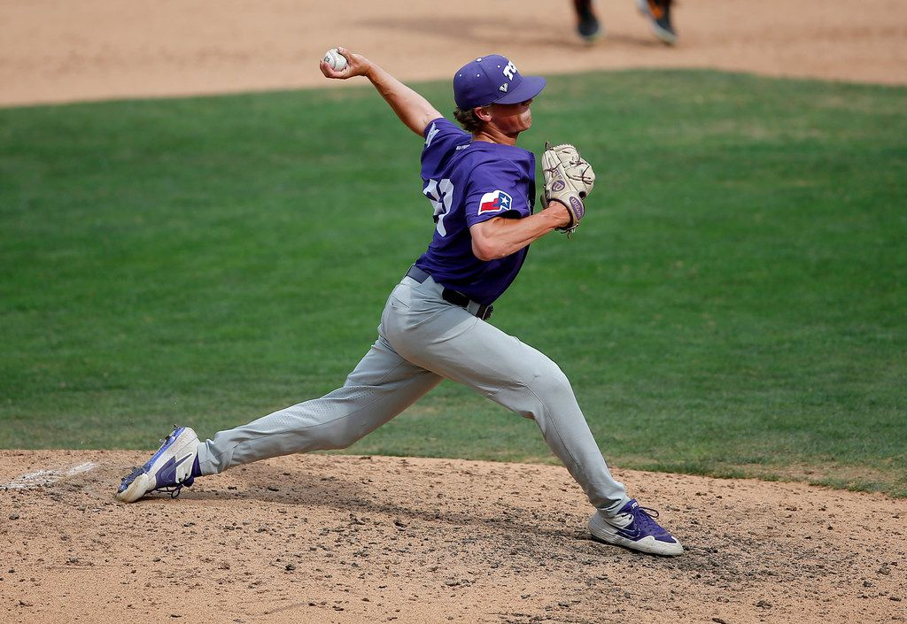 TCU's Augie Mihlbauer throws a pitch during the Big 12 baseball tournament game between TCU and Oklahoma State at the Chickasaw Bricktown Ballpark in Oklahoma City, Saturday, May 25, 2019.  [Sarah Phipps/The Oklahoman]