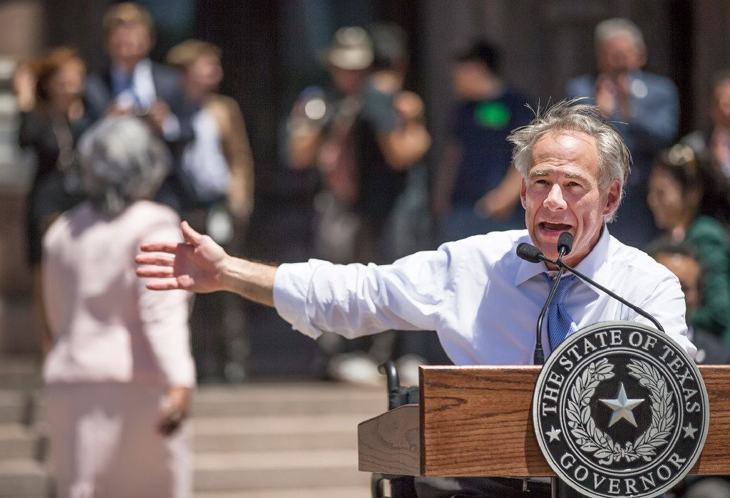 Governor Greg Abbott speaks about supporting Texas Charter Schools on the south steps of the state Capitol on Wednesday, April 26, 2017. RICARDO B. BRAZZIELL/AMERICAN-STATESMAN ORG XMIT: 1978289