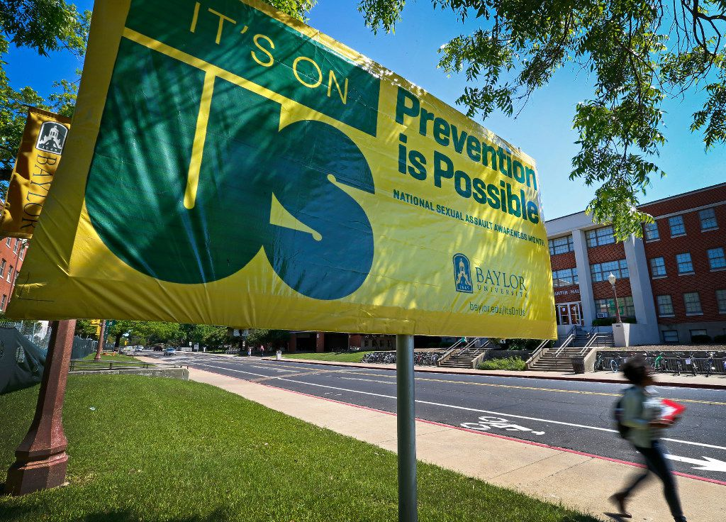 """An """"It's On Us"""" campaign sign on the Baylor University campus in Waco, Texas, Tuesday, May 3, 2016. The sign was posted for National Sexual Assault Awareness Month."""