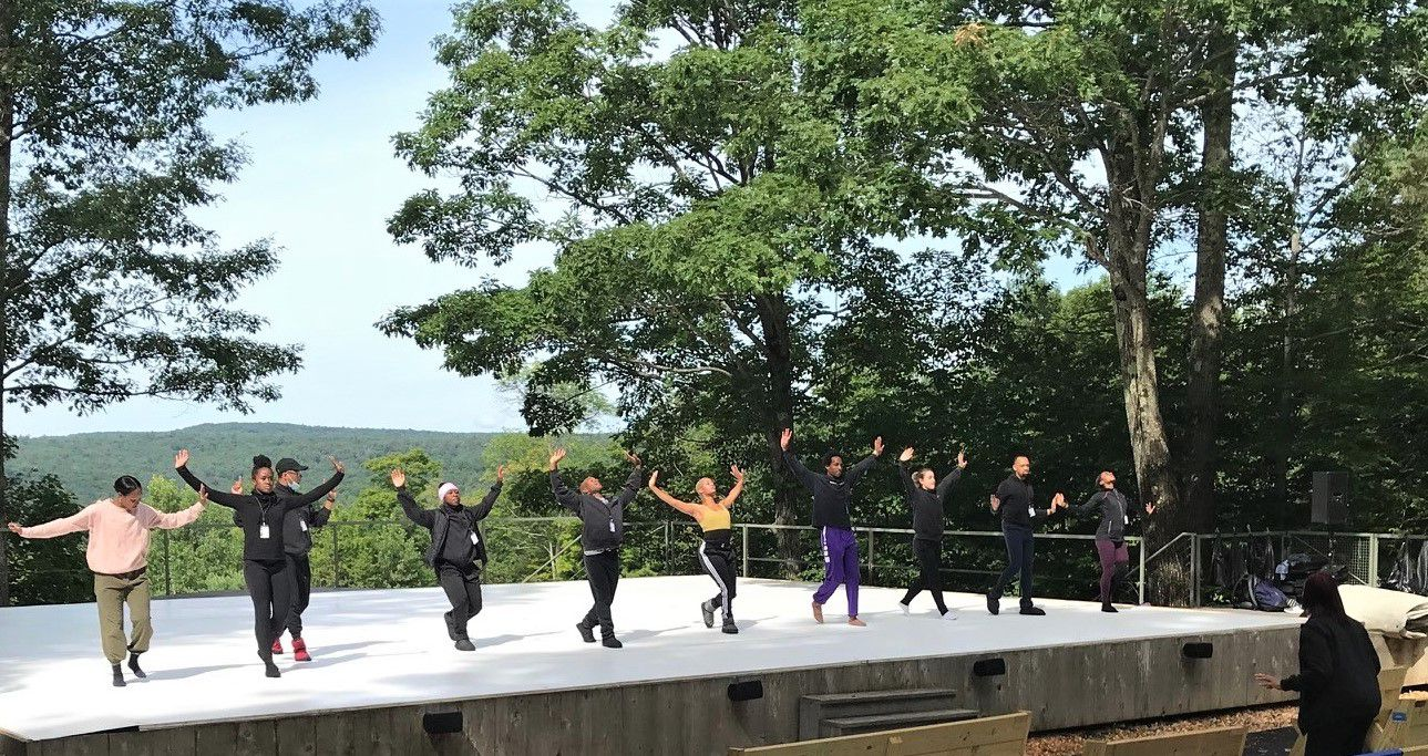 Melissa Young (below, right) directs the Dallas Black Dance Theatre in rehearsal at Jacob's Pillow.